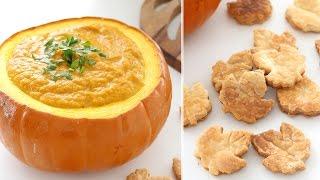 (日本語)creamy Pumpkin Soup And Leaf Crackers | クリーミーなパンプキンスープと紅葉のクラッカー