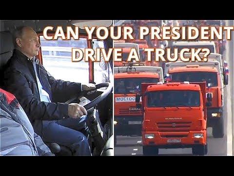 LET'S GO! - Putin Drives Kamaz Truck Across Newly-Opened Kerch Strait Bridge!