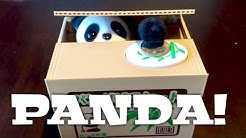 Cute panda in a box steals coins electronic novelty coin bank