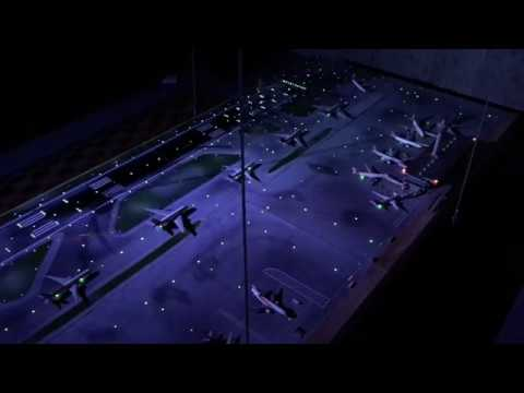 Miniature Airport Runway Scale Model Diorama With Lights Taxiways and Terminal - 1:400 Scale