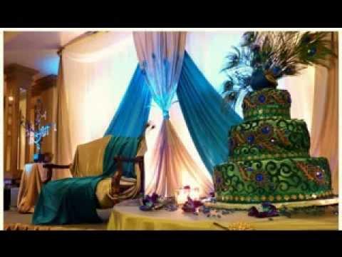 DIY Peacock wedding party decorations