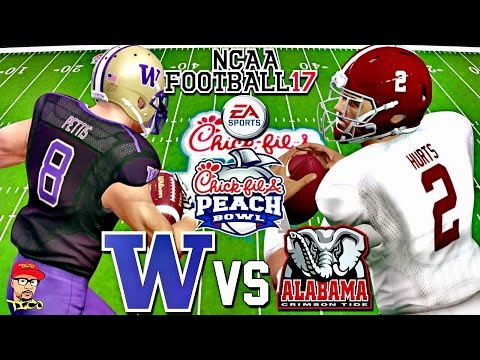 CFB PLAYOFF GAMEPLAY!!! | #4 WASHINGTON Vs #1 ALABAMA MATCH UP!!! | NCAA FOOTBALL 17!