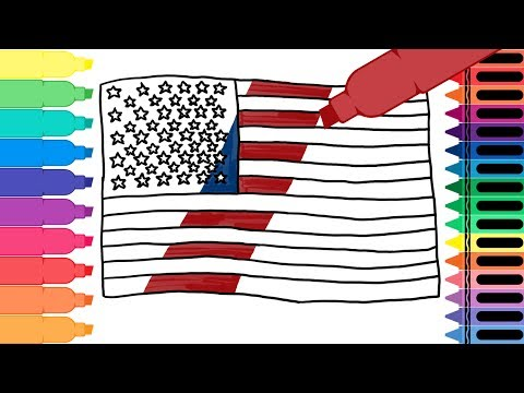 How to Draw an American Flag - Learn Drawing for Kids Art Colors for Kids   Tanimated Toys