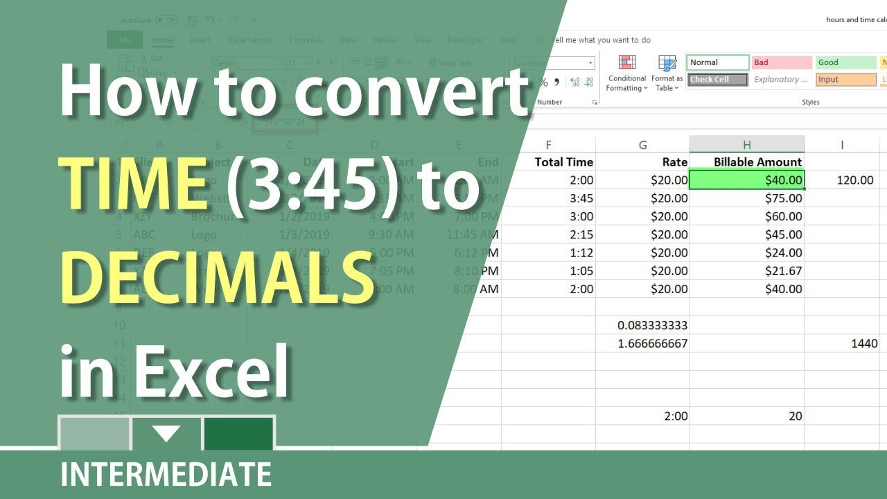Convert Hours Minutes In Excel To Decimals For Billable By Chris Menard