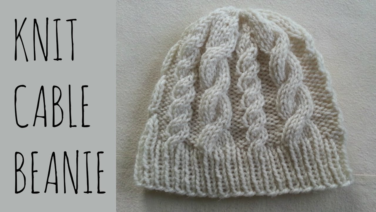 Free Hat Knitting Patterns Straight Needles : Cable Beanie Easy Knit Pattern & Tutorial - YouTube