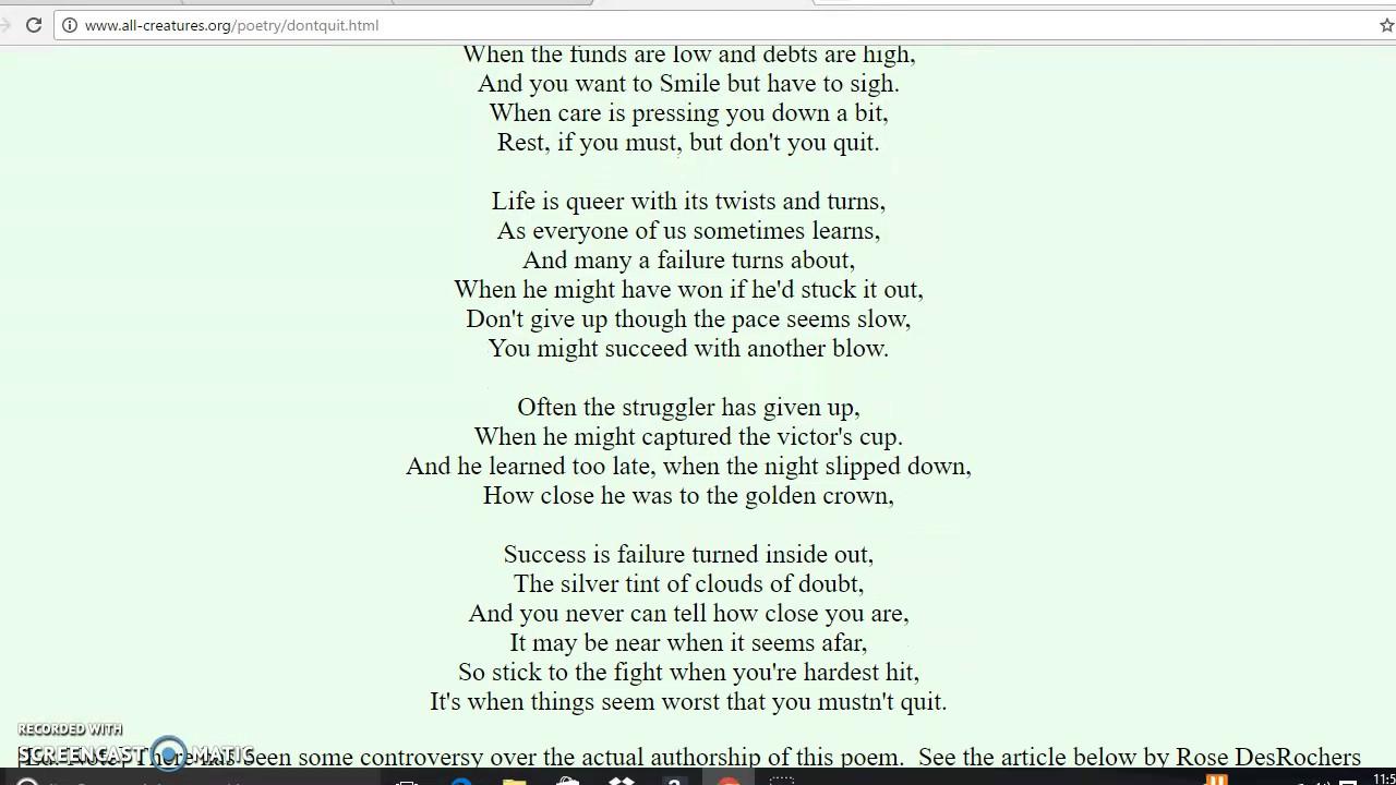 Poem Dont Quit Author Edgar A Guest Youtube