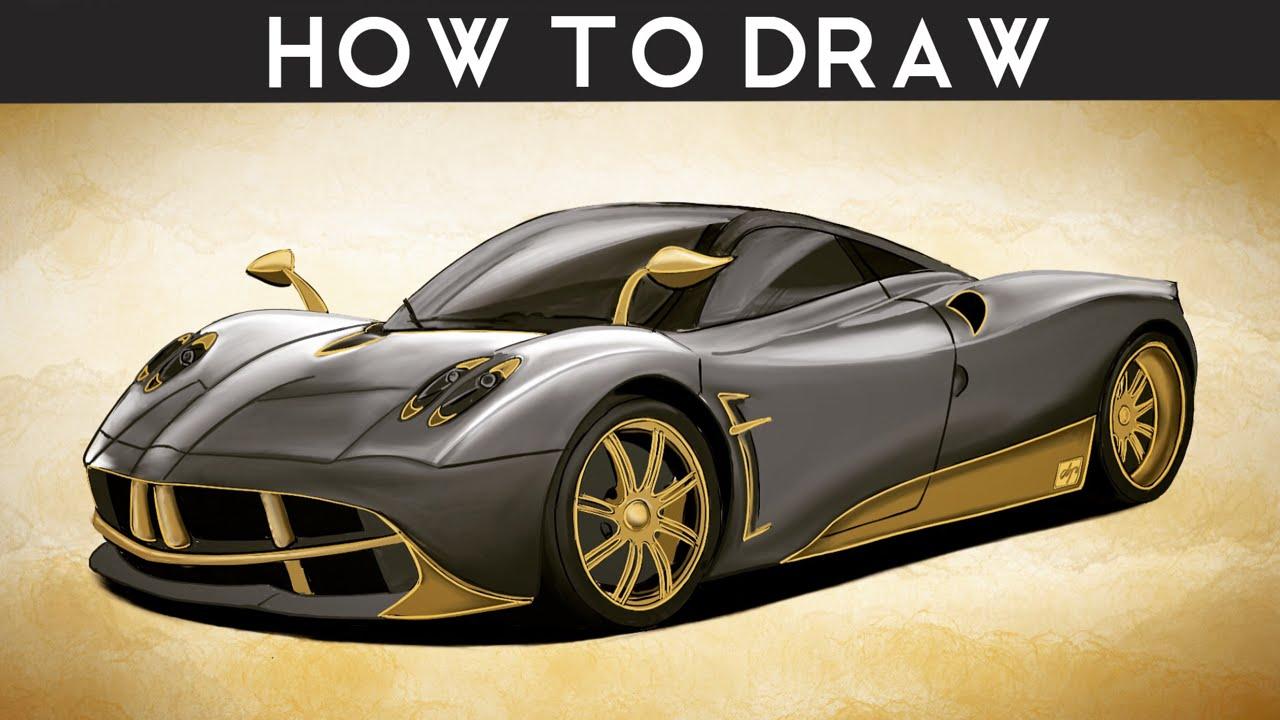DRAW a Pagani Huayra - Step by Step | drawingpat - YouTube