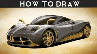 HOW TO DRAW a Pagani Huayra - Step by Step | drawingpat