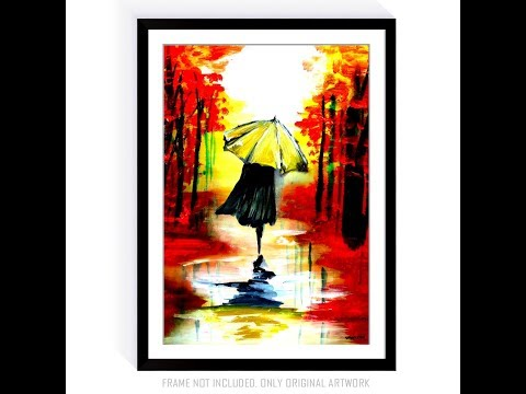 Painting Lady with Gold Umbrella Canvas Paper Acrylic Paint by Dranitsin