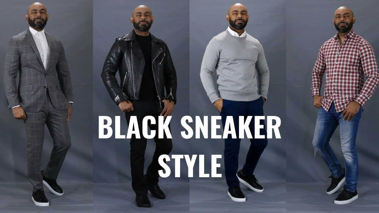 838f895a01dd1 How To Wear Black Sneakers/How To Style Men's Black Sneakers - YouTube