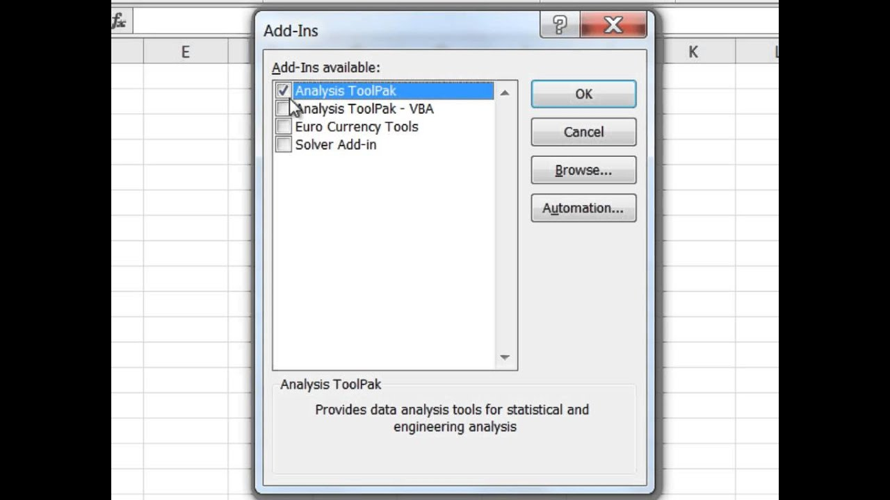 How to Install the Data Analysis ToolPak in Microsoft Excel YouTube – Data Analysis Excel