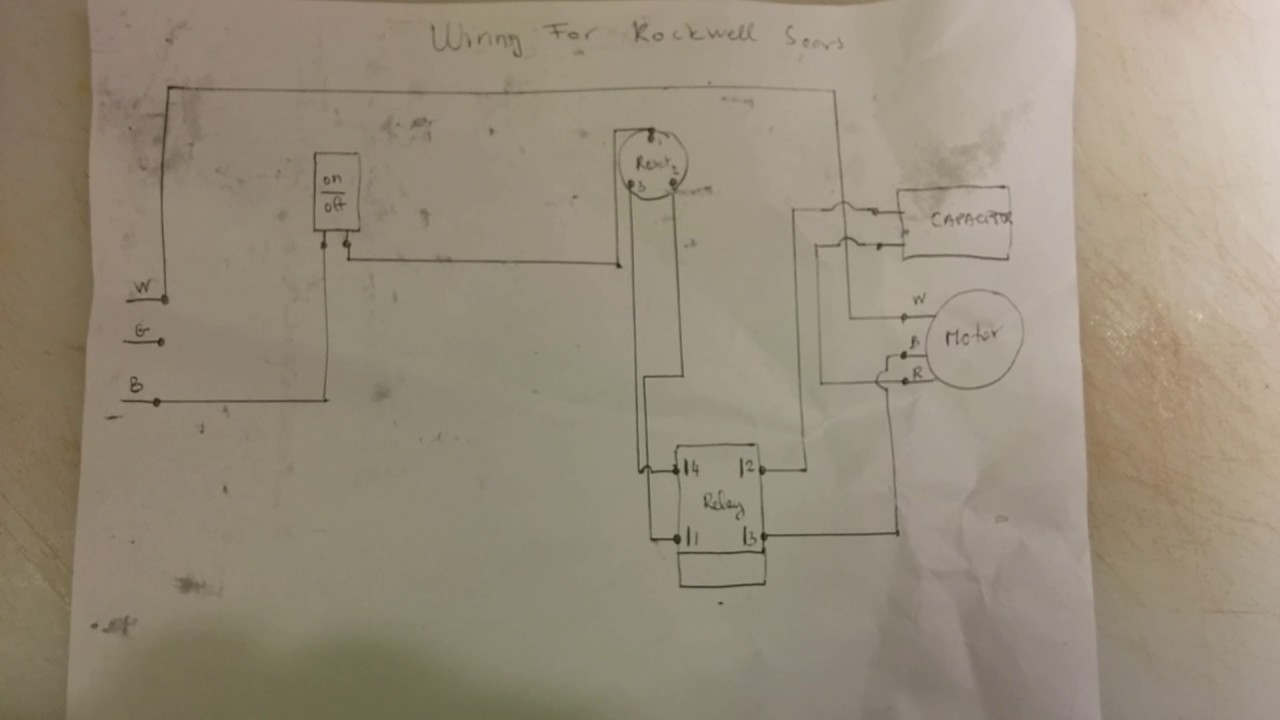 Rockwell Beaver Sears table saw wiring diagram  YouTube