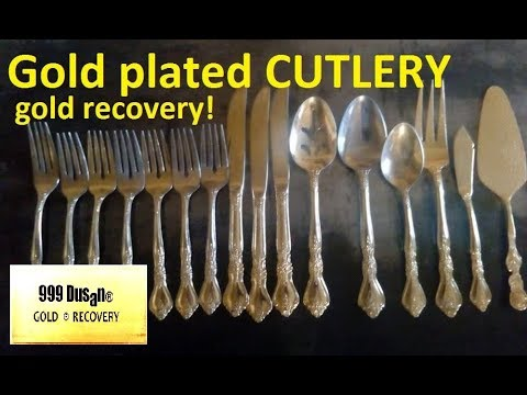 Gold plated CUTLERY - gold recovery - reverce electroplating!