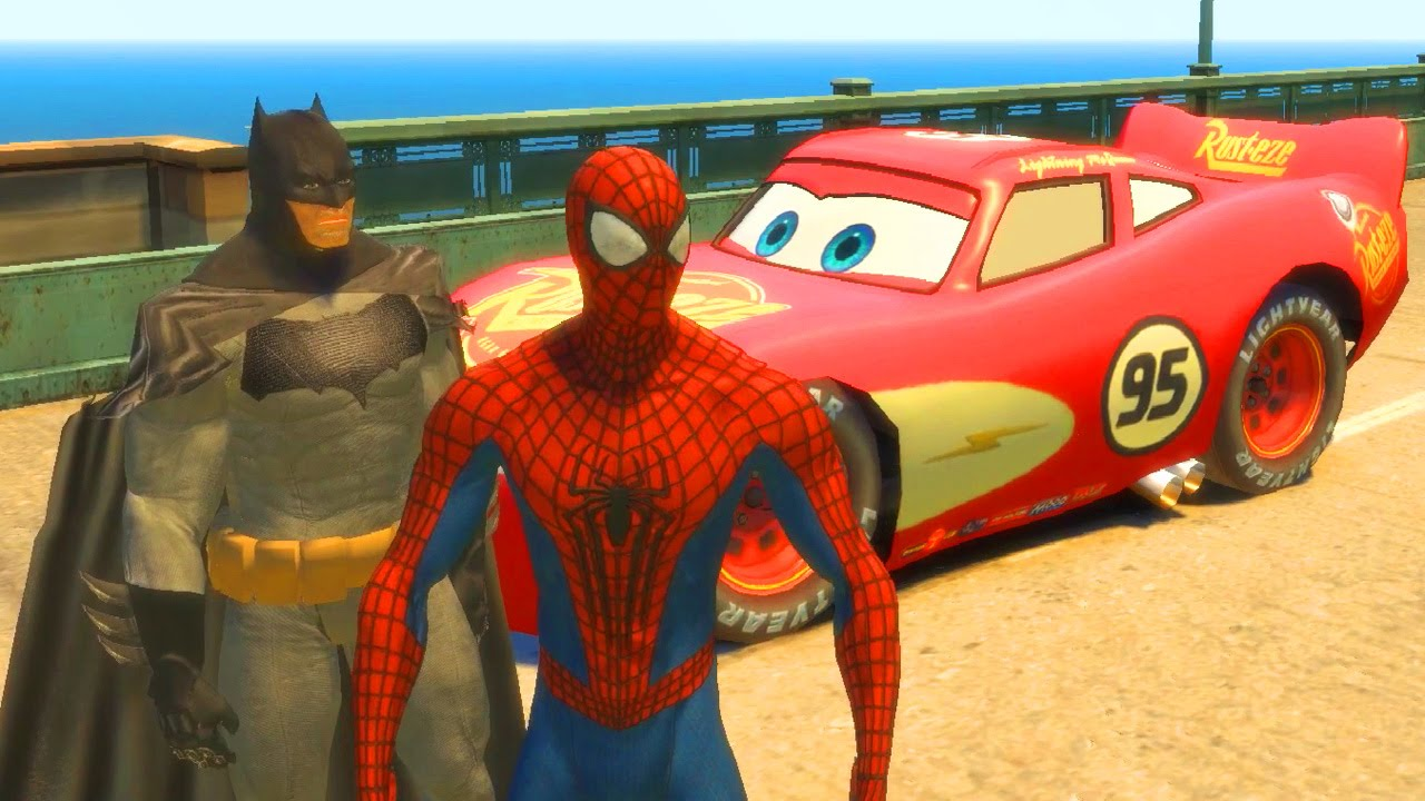 Flash Mcqueen Avec Spiderman Batman Flash La Voiture De Course