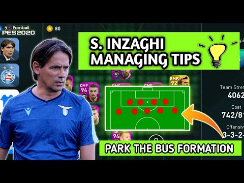 SIMONE INZAGHI BEST MANAGER FOR ONLINE MATCHES| PARK THE BUS FORMATION| PES 2020 MOBILE//