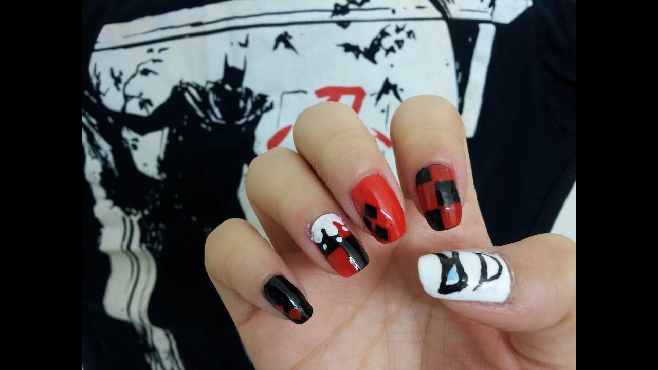Harley Quinn Nail Art Tutorial Youtube