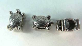 turtle design silver plated alloy metal charm beads wholesalesarong.com