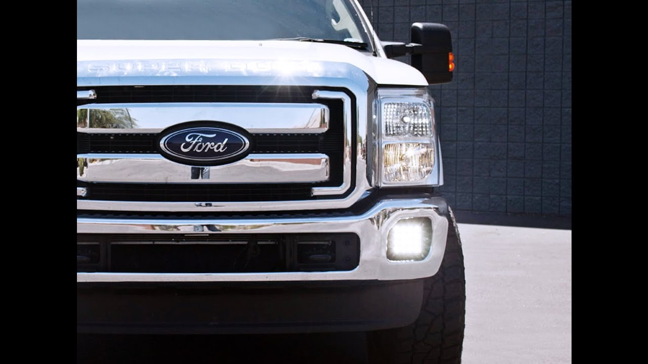 install ijdmtoy combination hybrid led fog lights for ford f 250 f 350 youtube [ 1280 x 720 Pixel ]