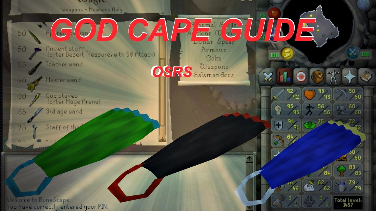 Quickest Mage Arena Guide - How to get a god cape/spells! OSRS