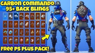 "NEW ""CARBON COMMANDO"" SKIN Showcased With 95+ BACK BLINGS! Fortnite Battle Royale (PS PLUS PACK 5)"