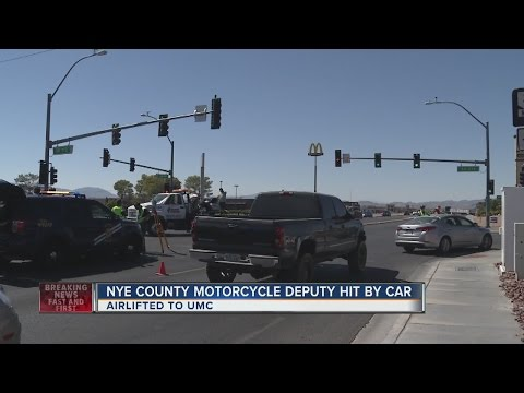 Nye County motorcycle deputy struck by vehicle
