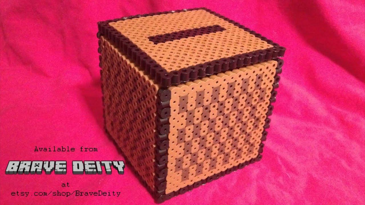 minecraft jukebox inspired music box made of perler beads