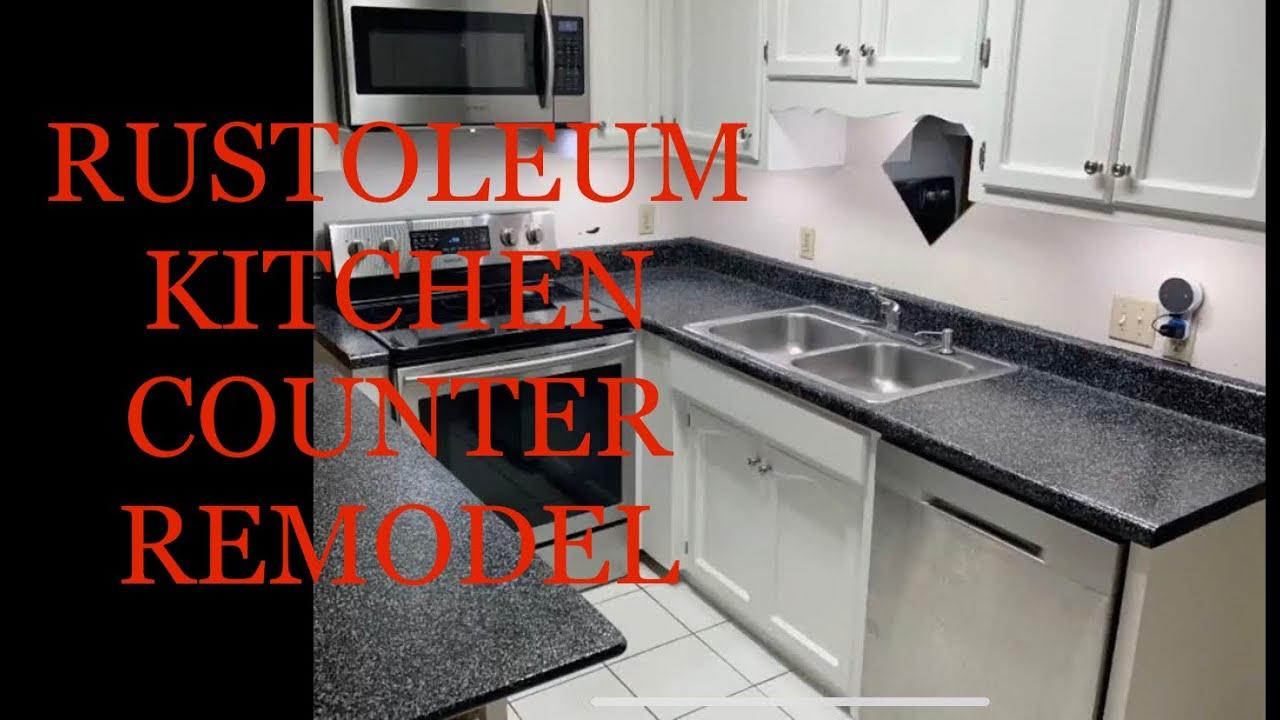 Diy Rustoleum Kitchen Countertop Transformation Charcoal Fake Granite Youtube