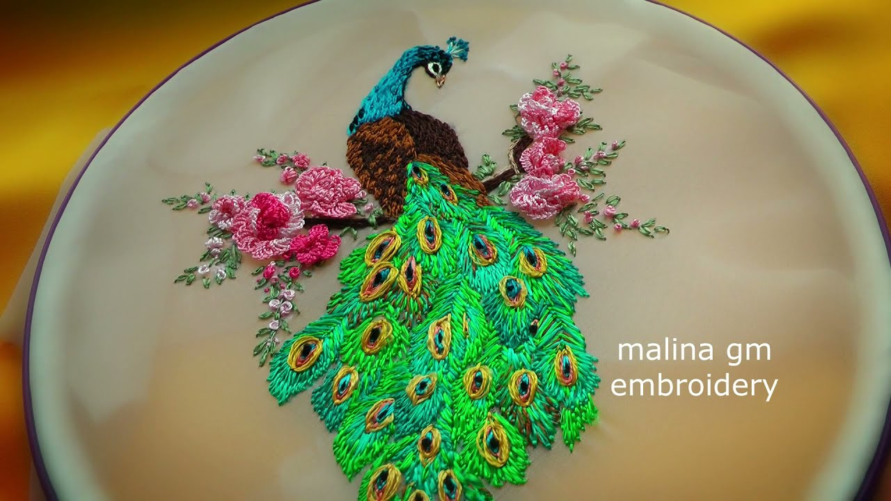 Hand Embroidery : Peacock with Roses || Вышивка:Павлин