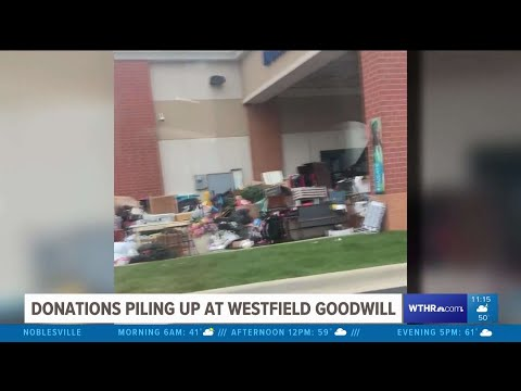 Donations Pile Up Outside Goodwill Store