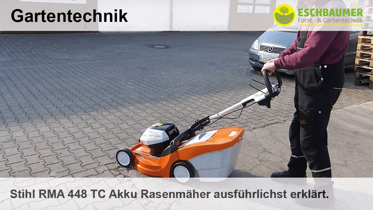 stihl rma 448 tc akku rasenm her ausf hrlichst erkl rt youtube. Black Bedroom Furniture Sets. Home Design Ideas