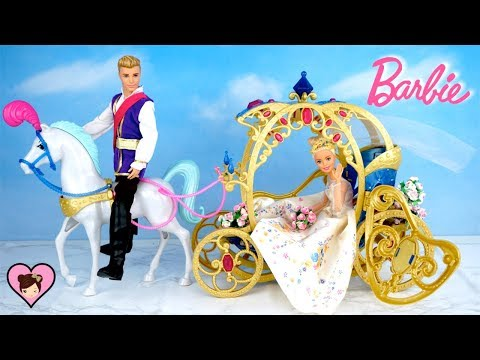 Princess Barbie Cinderella Wedding Day Morning Routine with Fairytale Carriage