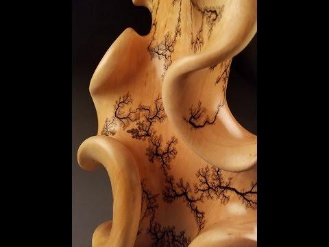 Fine Art Wood Sculpture, Wood Electrification (Lichtenberg fractal figure)
