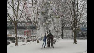 Espectacular nevada sobre Bilbao