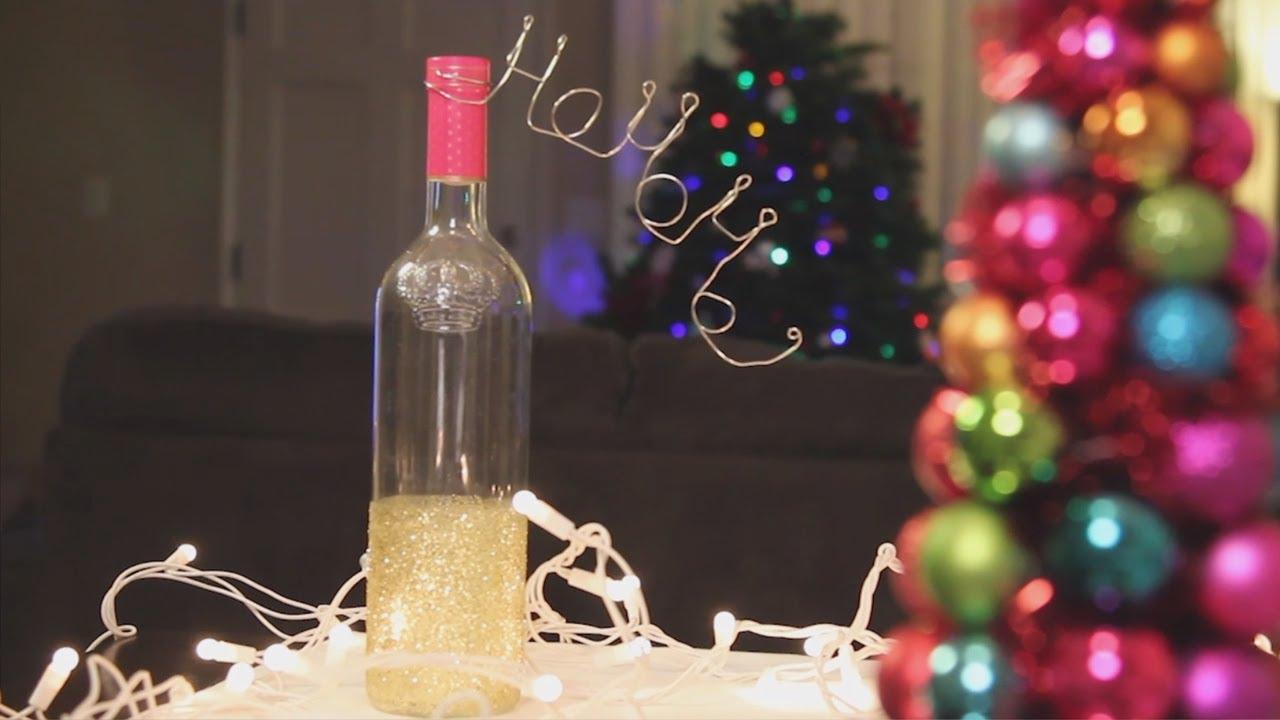 christmas glitter wine bottle decoration diy youtube. Black Bedroom Furniture Sets. Home Design Ideas
