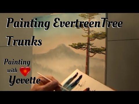Painting Evergreen Tree Trunks | Landscape Painting | With Yovette