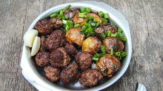 Жареная молодая картошка с мясом