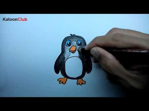 เพนกวิน สอนวาดรูปการ์ตูนน่ารักง่ายๆ ระบายสี How to Draw Penguin Cartoon Easy Step by Step