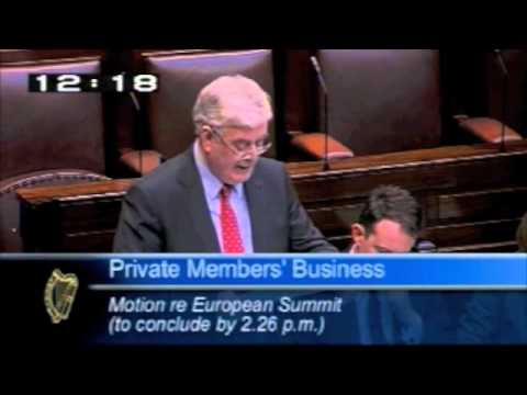 An Tánaiste Eamon Gilmore speaking during Private Members' on the European Summit