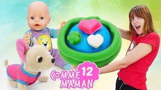 Vidéo en français pour enfants! Show Comme maman n°12: préparation de cupcakes avec Bébé born Emily