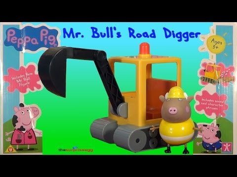 Peppa Pig Mr. Bull's Road Digger Playset vehicle with sound opening unboxing toys