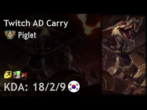 Twitch AD Carry Vs Kog'Maw - Piglet - KR Challenger Patch 7.19