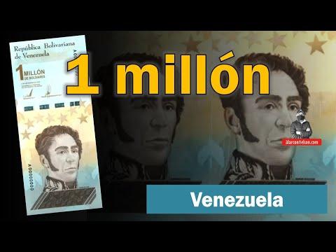 Histórico billete de un millón de Bolívares en Venezuela