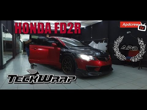 Honda Civic Type R wrapped in True Blood Red