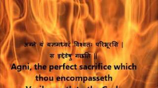 Full Agni Suktam Rig Veda Book 1 Hymn 1 Devanagari Sanskrit English translations.wmv