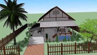 บ้านหลังคาจั่ว ในสวน    ( No. 024 )    SKetchup by :  i. pakdee