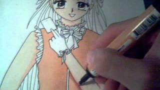 Inking and colouring manga