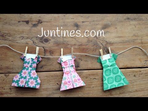 Sencillos vestidos de origami para niños, ideales para practicar esta técnica