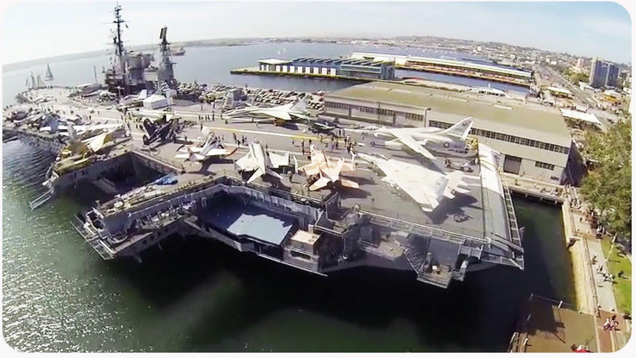 Aerial View Of USS Midway Aircraft Carrier By Drone
