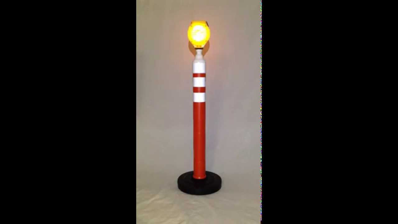 46 Portable Delineator Post W Solar Led Flasher Light Youtube Lamp