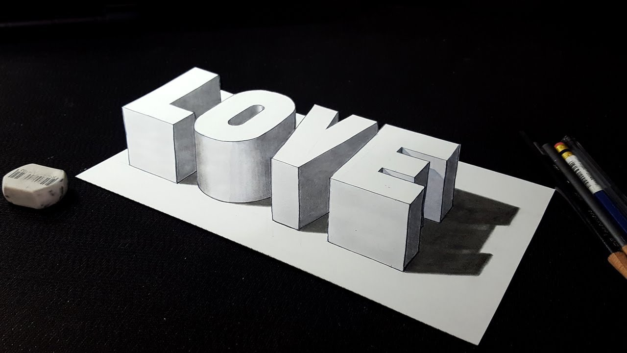 How to draw 3d love word drawing 3d letters